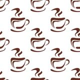 Seamless pattern with steaming coffee cups Stock Image