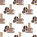 Seamless pattern of steaming coffee Stock Images