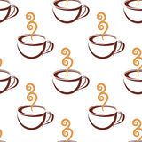 Seamless pattern of steaming  cup of coffee. Seamless pattern of steaming hot brown cups of coffee with beige steam  on white background suitable for cafe and Stock Images