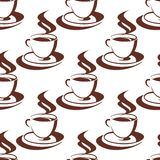 Seamless pattern of a steaming cup of coffee Royalty Free Stock Photo
