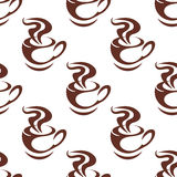 Seamless pattern with steaming cups of coffee Royalty Free Stock Photos