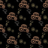 Seamless pattern Steampunk with old car Stock Photography
