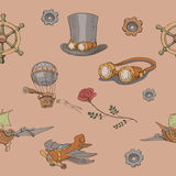 Seamless pattern Steampunk with steampunk top hat Royalty Free Stock Photography