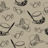 Seamless pattern Steampunk with steampunk top hat and brass goggles stock illustration