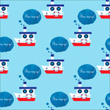 Seamless pattern with steamship. Text in french Bon voyage means have a good trip. Royalty Free Stock Photos