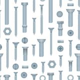 Seamless pattern with steel bolts and screws vector illustration