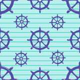 Seamless pattern with steering wheel on striped blue background. Vector Illustration Royalty Free Stock Photo