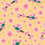 Seamless pattern with stemmed flower motifs. Pattern background with blossom motifs ornament stock illustration