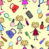 Seamless pattern stick figure girl with powder, lipstick, comb, phone, mirror, lacquer and purse. Seamless pattern stick figure girl with powder, lipstick, comb Royalty Free Stock Photo