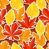 Seamless pattern with stickers autumn leaves Royalty Free Stock Photo
