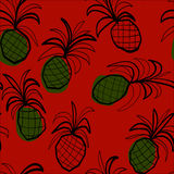 Seamless pattern with stilized pineapples Royalty Free Stock Image