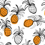 Seamless pattern with stilized pineapples Stock Photos