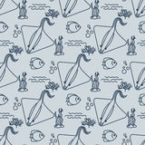 Seamless pattern with stingrays and fishs Royalty Free Stock Photography