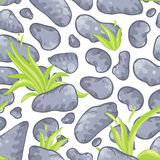 Seamless pattern with stones and grass. Royalty Free Stock Photo