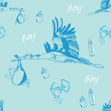 Seamless pattern of stork with baby boy and. Vector illustration of seamless pattern of stork with baby boy and bottles Royalty Free Stock Images
