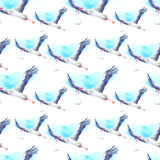 Seamless pattern with Stork, baby and sky. Stock Images