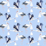Seamless pattern with Stork and baby. Royalty Free Stock Photo