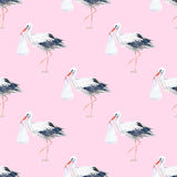 Seamless pattern of a stork and baby. Royalty Free Stock Images