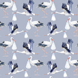 Seamless pattern with Stork and baby. Royalty Free Stock Images