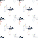Seamless pattern of a stork and baby. Royalty Free Stock Photography