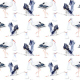 Seamless pattern with Stork and baby. Royalty Free Stock Image