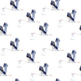 Seamless pattern.Stork with baby. Royalty Free Stock Photos