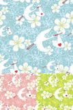 Seamless pattern of stork flying with newborn baby Royalty Free Stock Images