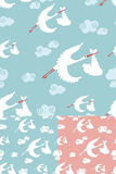 Seamless pattern of stork flying with newborn baby Stock Photography