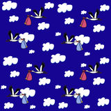 Seamless pattern of storks carry babies on the sky background Stock Photos