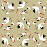Seamless pattern of storks Stock Photos