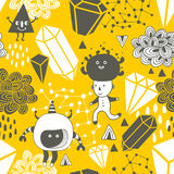 Seamless pattern with strange creations and design elements. Vector endless background vector illustration