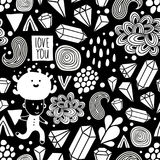 Seamless pattern with strange creatures in black and white colors. Royalty Free Stock Photography