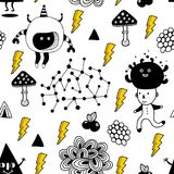 Seamless pattern with strange creatures and monsters from space. Vector illustration in doodle style Stock Photos