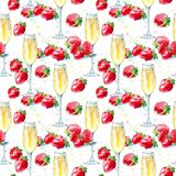 Seamless pattern of a strawberries and champagne. Royalty Free Stock Image
