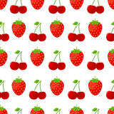 Seamless pattern with strawberries and cherries Stock Photos