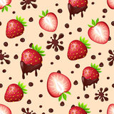 Seamless pattern with strawberries and chocolate Stock Image