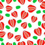 Seamless pattern of  strawberries cut. Vector illustration Royalty Free Stock Photo
