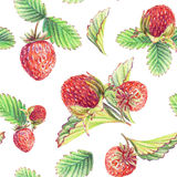 Seamless pattern with strawberries. Drawing with colored pencils. Colourful drawing of strawberries Royalty Free Stock Photo