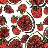 Seamless pattern with strawberries and figs. Vector illustration Royalty Free Stock Photography
