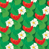 Seamless pattern with Strawberries with flowers and leaves. Stock Photo