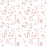 Seamless pattern of strawberries and flowers. Red on white. vector format eps10 Stock Illustration
