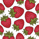 Seamless pattern with strawberries. Graphic stylized drawing. Stock Photo