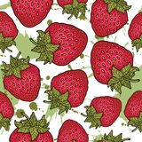 Seamless pattern with strawberries. Graphic stylized drawing. Royalty Free Stock Photos