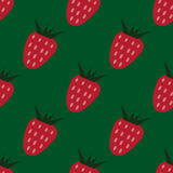 Seamless pattern with strawberries on the green background Stock Photography