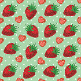 Seamless Pattern with Strawberries and Hearts. Seamless vector Pattern with Ripe Red Strawberries and Hearts on a Green Background with White Dots Stock Photo