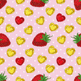 Seamless Pattern with Strawberries and Hearts. Seamless vector Pattern with Ripe Red Strawberries and Hearts on a Pink Background with White Dots Royalty Free Stock Photography