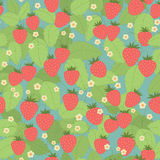 Seamless pattern with strawberries, leaves and flowers. Seamless pattern with strawberries, leaves and flowers on a blue background for wrapping paper or fabric Royalty Free Stock Photos