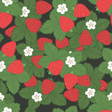 Seamless pattern strawberries. Seamless pattern of strawberries with leaves and flowers - vector  illustration Stock Photo