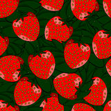 Seamless pattern of strawberries with leaves. Seamless pattern of red strawberries with leaves vector illustration