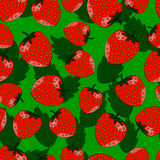 Seamless pattern of strawberries with leaves. Seamless pattern of red strawberries with leaves royalty free illustration